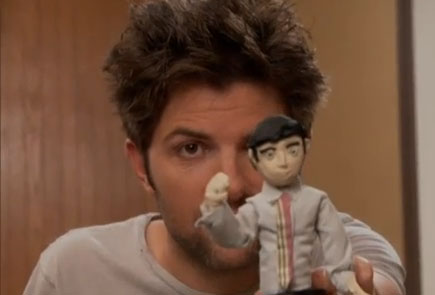Ben Wyatt with his claymation doll