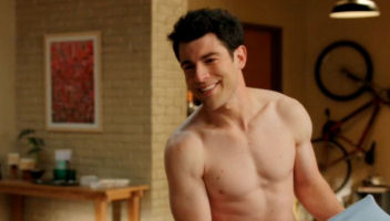 Max Greenfield as Schmidt no shirt